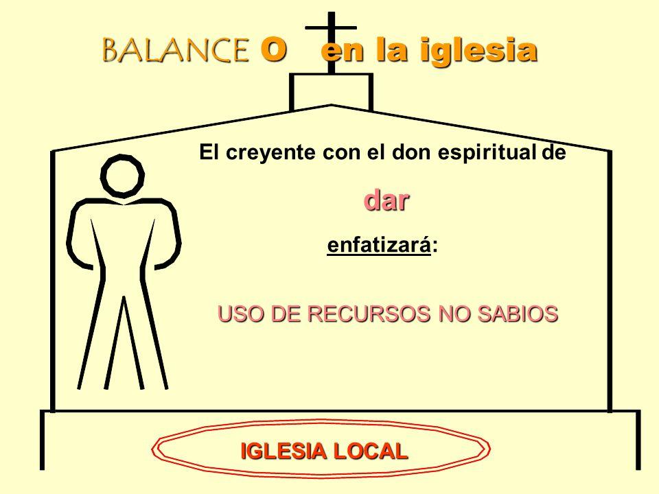 BALANCE O en la iglesia IGLESIA LOCAL El creyente con el don espiritual de dar enfatizará: USO DE RECURSOS NO SABIOS