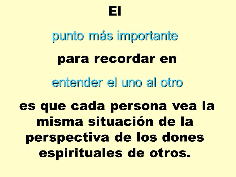 El punto más importante para recordar en entender el uno al otro es que cada persona vea la misma situación de la perspectiva de los dones espirituale