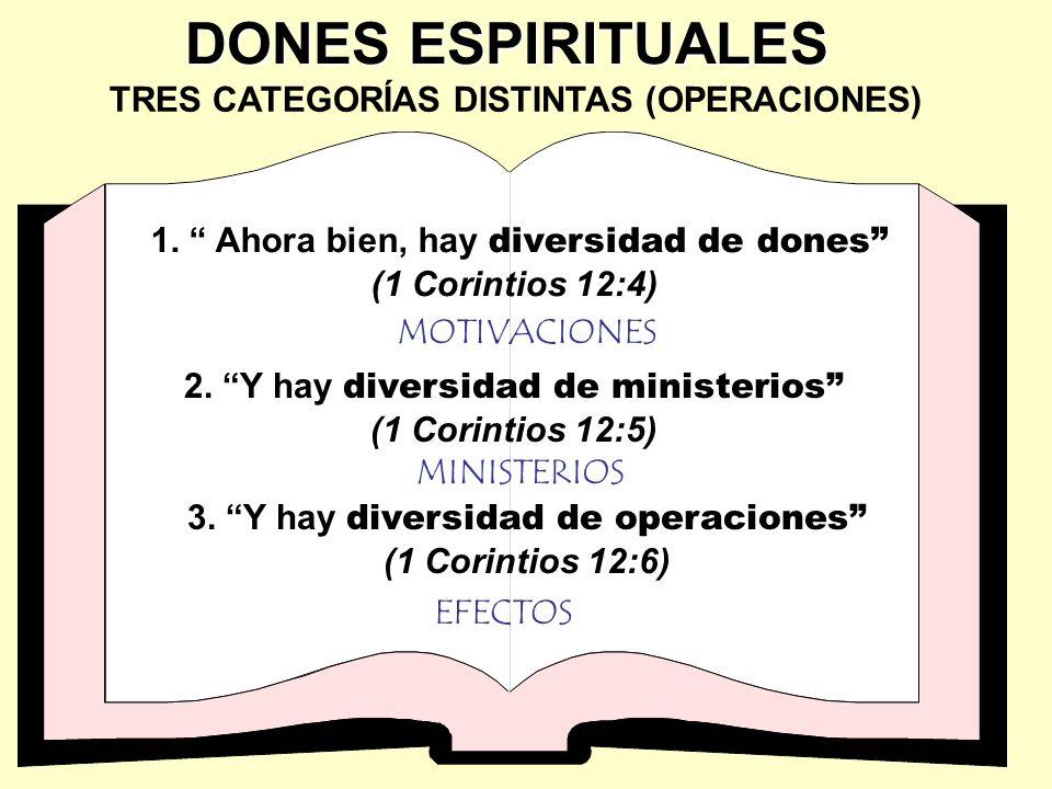 TRES CATEGORÍAS DISTINTAS (OPERACIONES) 1. Ahora bien, hay diversidad de dones (1 Corintios 12:4) 2. Y hay diversidad de ministerios (1 Corintios 12:5