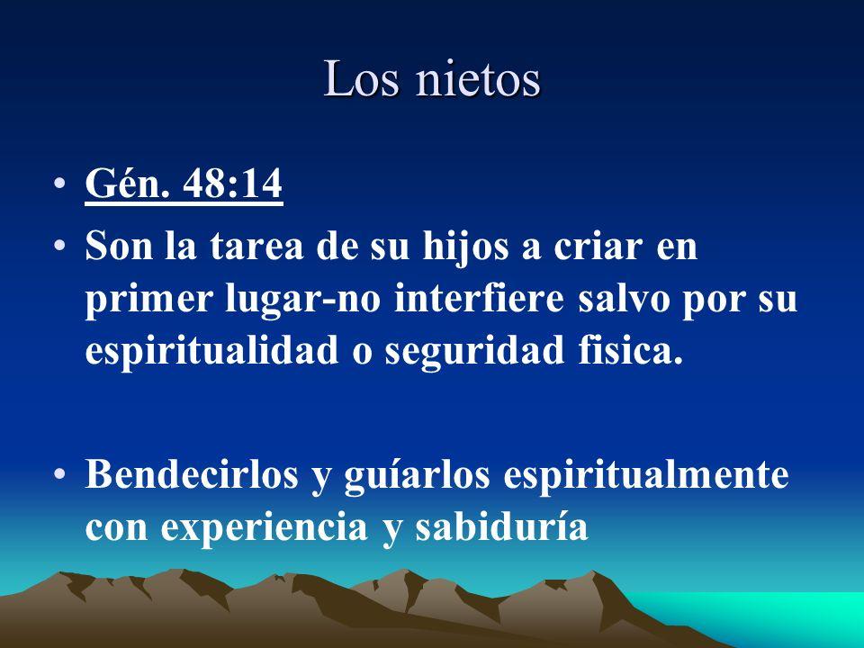 Los nietos Gén. 48:14 Son la tarea de su hijos a criar en primer lugar-no interfiere salvo por su espiritualidad o seguridad fisica. Bendecirlos y guí