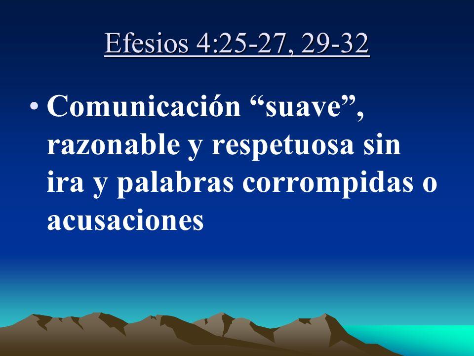 Efesios 4:25-27, 29-32 Comunicación suave, razonable y respetuosa sin ira y palabras corrompidas o acusaciones