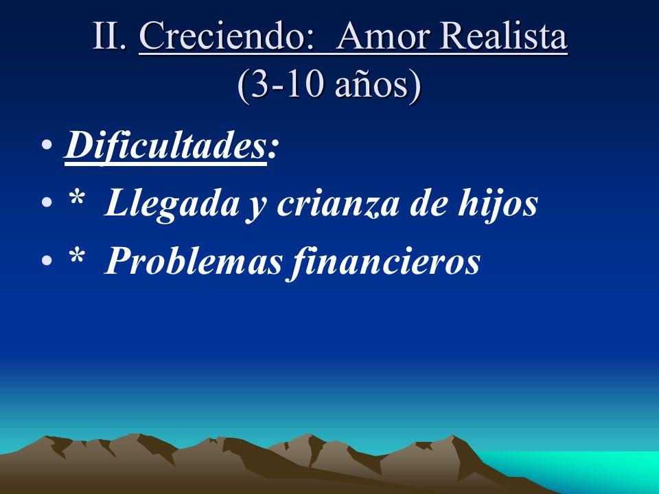 II. Creciendo: Amor Realista (3-10 años) Dificultades: * Llegada y crianza de hijos * Problemas financieros