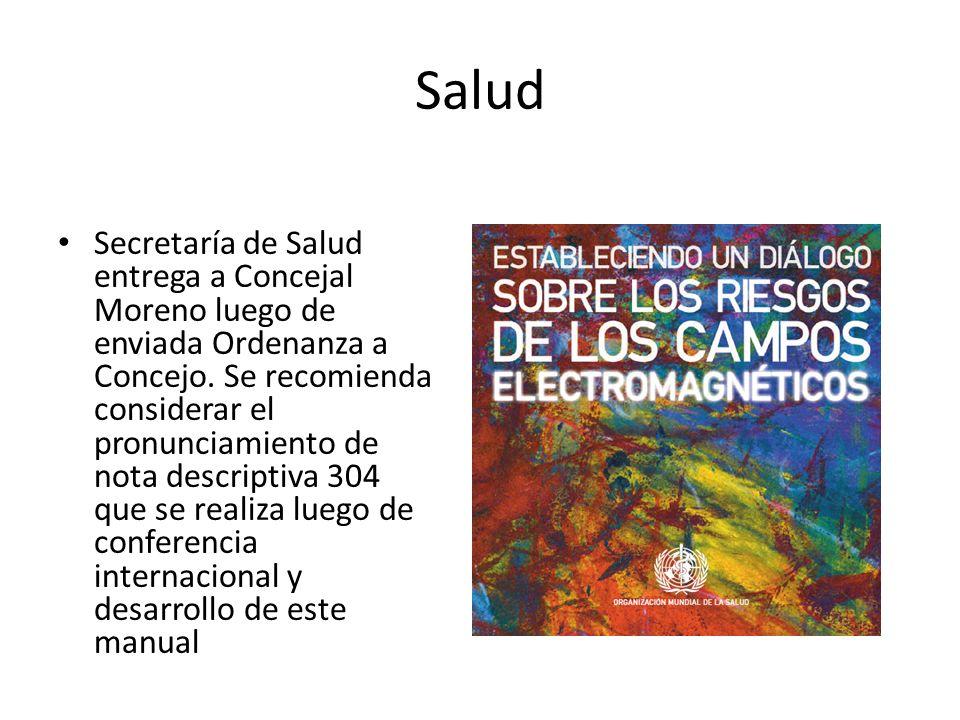 Salud Secretaría de Salud entrega a Concejal Moreno luego de enviada Ordenanza a Concejo.