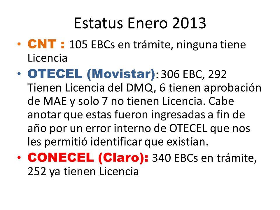 Estatus Enero 2013 CNT : 105 EBCs en trámite, ninguna tiene Licencia OTECEL (Movistar) : 306 EBC, 292 Tienen Licencia del DMQ, 6 tienen aprobación de MAE y solo 7 no tienen Licencia.