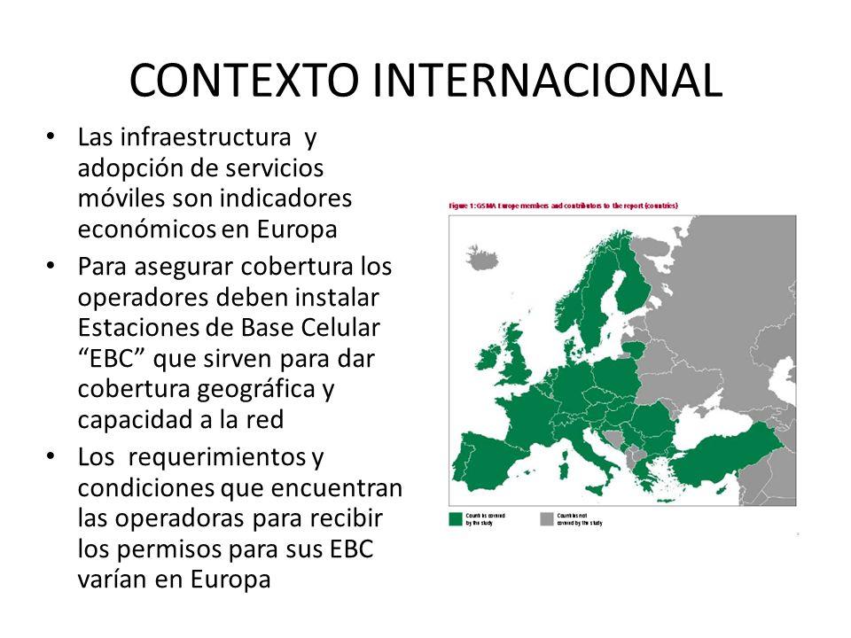 CONTEXTO INTERNACIONAL Las infraestructura y adopción de servicios móviles son indicadores económicos en Europa Para asegurar cobertura los operadores deben instalar Estaciones de Base Celular EBC que sirven para dar cobertura geográfica y capacidad a la red Los requerimientos y condiciones que encuentran las operadoras para recibir los permisos para sus EBC varían en Europa