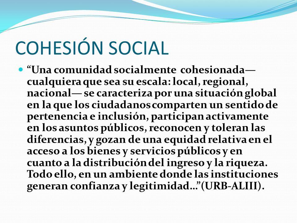 COMPONENTES BÁSICOS DE LA COHESIÓN SOCIAL Participación, Legitimidad del Gobierno local, Sentido de pertenencia, Reconocimiento del otro, Igualdad/Inclusión