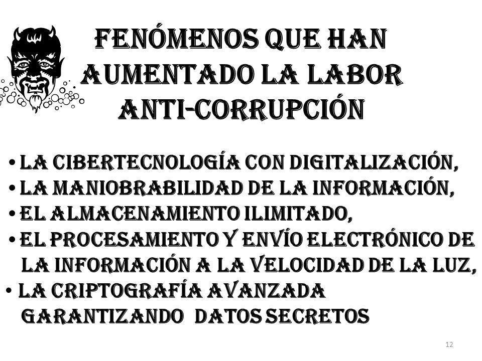 fenómenos que han Aumentado La labor anti-corrupción la cibertecnología con digitalización, la maniobrabilidad de la información, el almacenamiento il