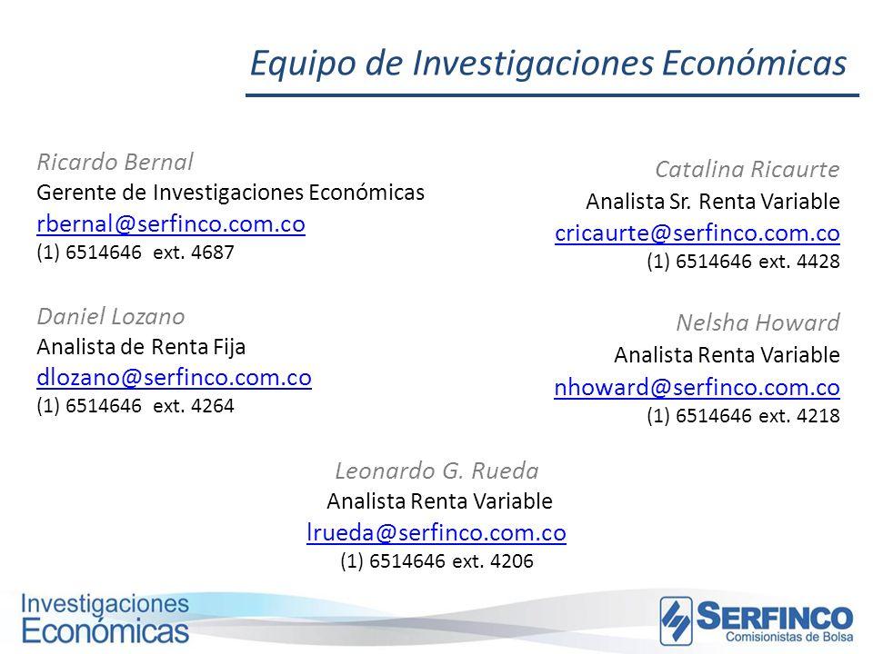 Equipo de Investigaciones Económicas Ricardo Bernal Gerente de Investigaciones Económicas rbernal@serfinco.com.co (1) 6514646 ext. 4687 rbernal@serfin