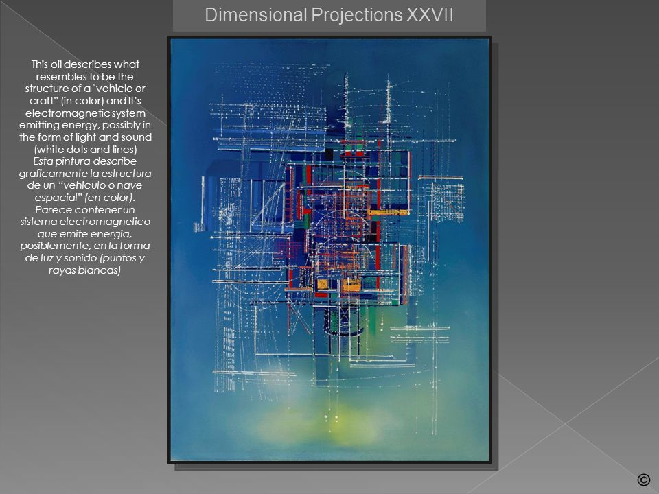 Dimensional Projections VI These color drawings are detailed images of sections of an electro-magnetic technology and a system that generates modulations of light and sound for the transmission of intelligence.
