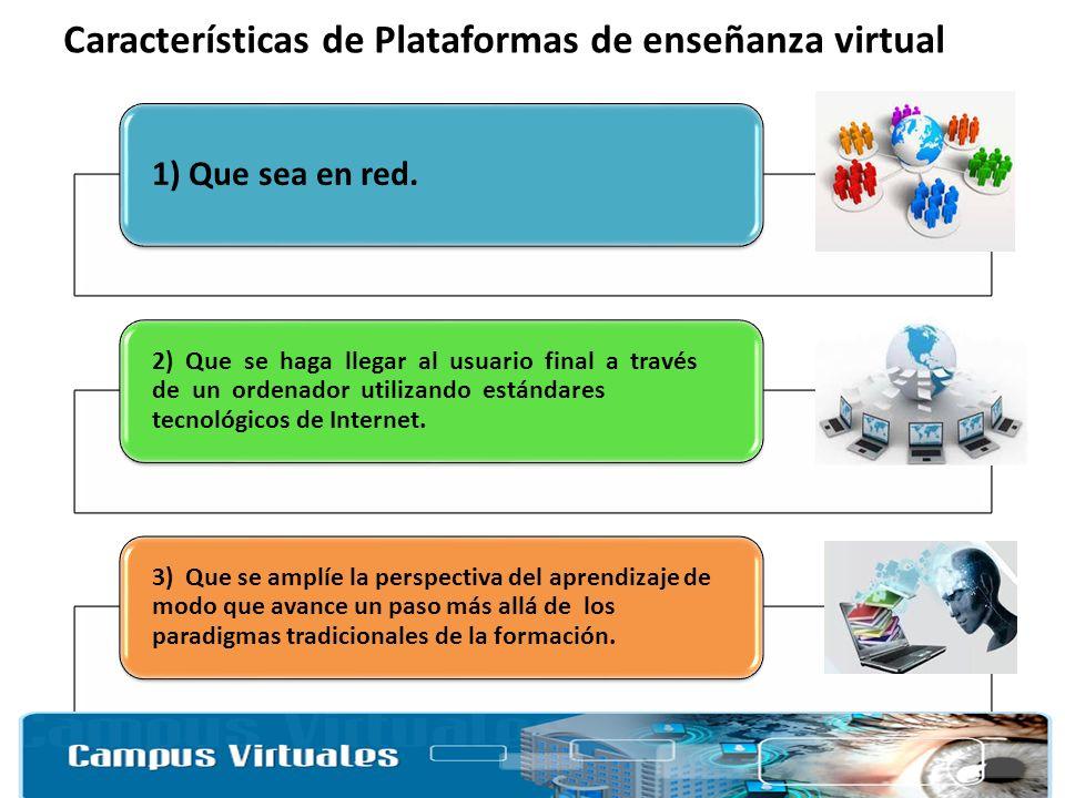 Características de Plataformas de enseñanza virtual 1) Que sea en red. 2) Que se haga llegar al usuario final a través de un ordenador utilizando está