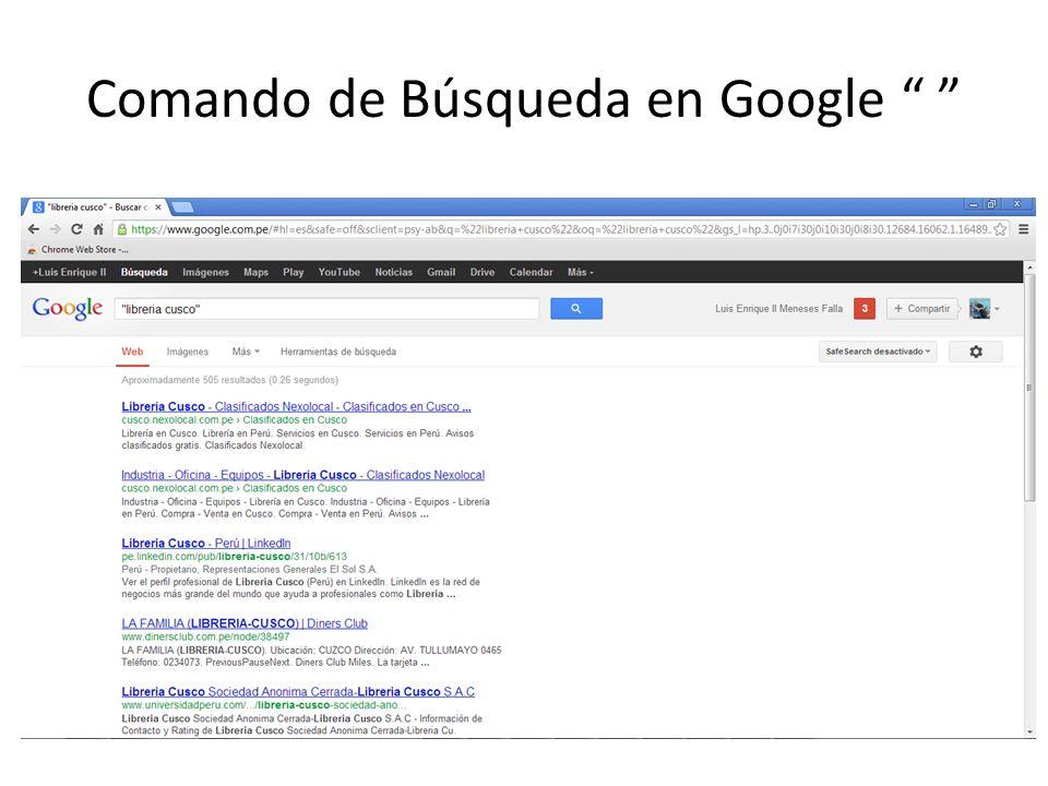 Comando de Búsqueda en Google