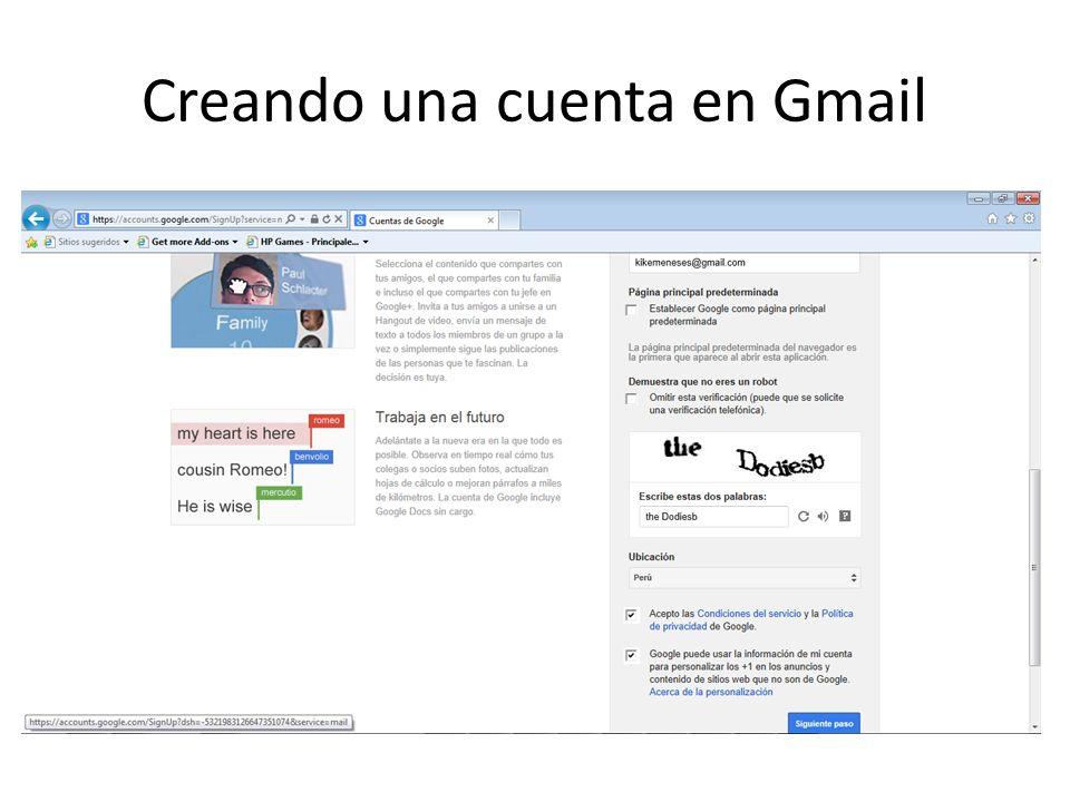 Creando una cuenta en Gmail