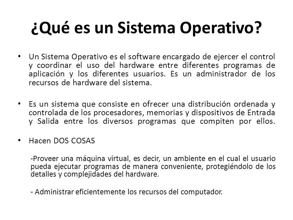 ¿Qué es un Sistema Operativo? Un Sistema Operativo es el software encargado de ejercer el control y coordinar el uso del hardware entre diferentes pro