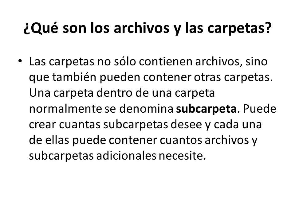 ¿Qué son los archivos y las carpetas? Las carpetas no sólo contienen archivos, sino que también pueden contener otras carpetas. Una carpeta dentro de