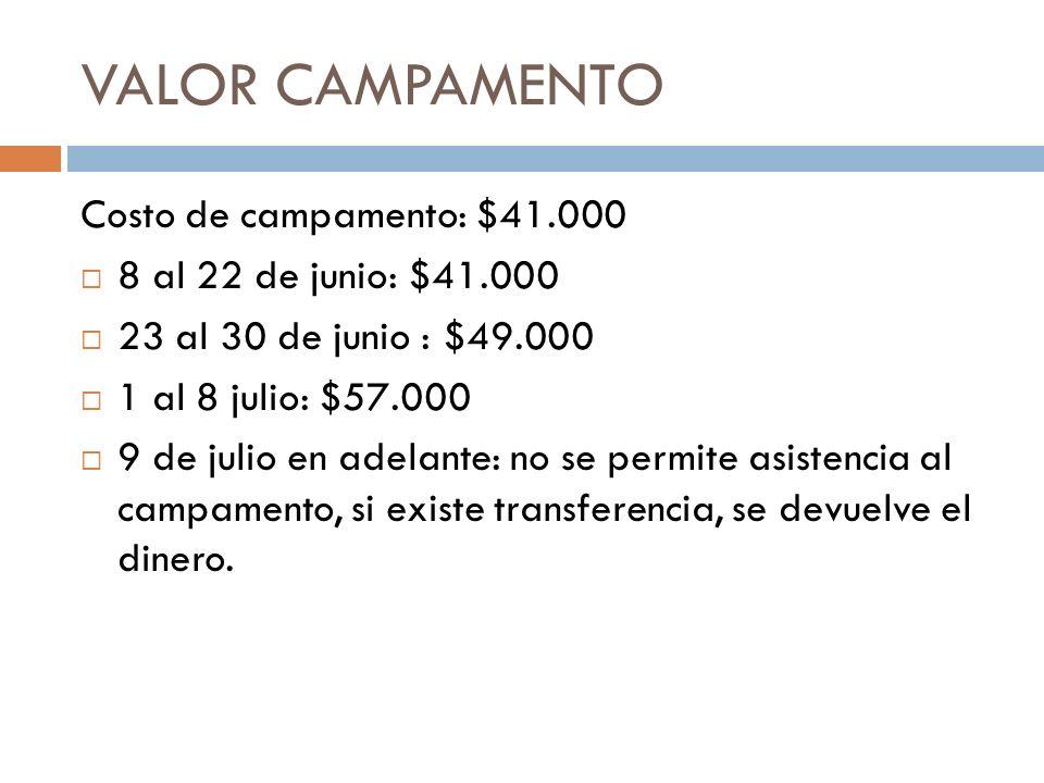 VALOR CAMPAMENTO Costo de campamento: $41.000 8 al 22 de junio: $41.000 23 al 30 de junio : $49.000 1 al 8 julio: $57.000 9 de julio en adelante: no s