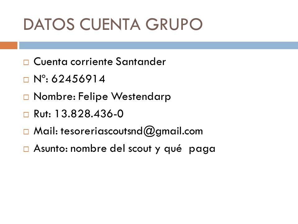 DATOS CUENTA GRUPO Cuenta corriente Santander Nº: 62456914 Nombre: Felipe Westendarp Rut: 13.828.436-0 Mail: tesoreriascoutsnd@gmail.com Asunto: nombr