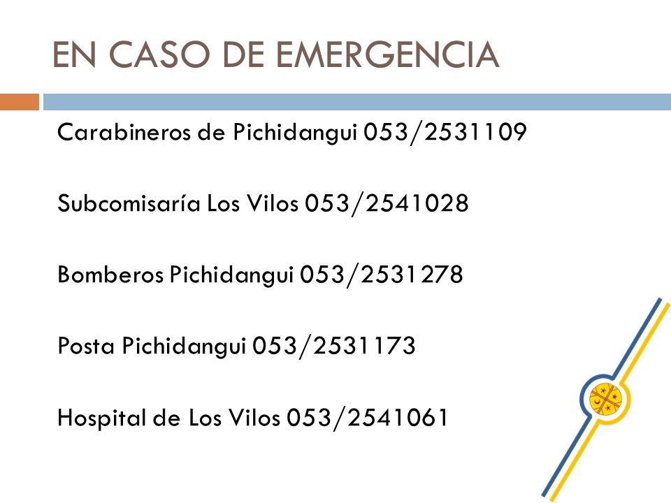 EN CASO DE EMERGENCIA Carabineros de Pichidangui 053/2531109 Subcomisaría Los Vilos 053/2541028 Bomberos Pichidangui 053/2531278 Posta Pichidangui 053