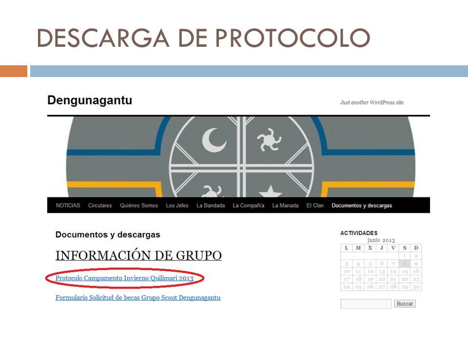 DESCARGA DE PROTOCOLO