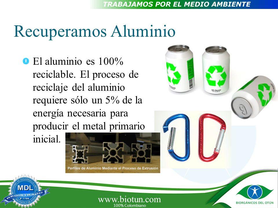 www.biotun.com 100% Colombiano Recuperamos Aluminio El aluminio es 100% reciclable. El proceso de reciclaje del aluminio requiere sólo un 5% de la ene