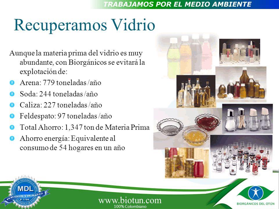 www.biotun.com 100% Colombiano Recuperamos Vidrio Aunque la materia prima del vidrio es muy abundante, con Biorgánicos se evitará la explotación de: A