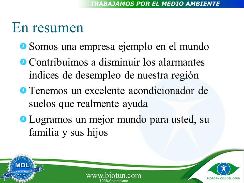 www.biotun.com 100% Colombiano En resumen Somos una empresa ejemplo en el mundo Contribuimos a disminuir los alarmantes índices de desempleo de nuestr