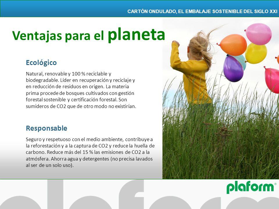 Ecológico Natural, renovable y 100 % reciclable y biodegradable. Líder en recuperación y reciclaje y en reducción de residuos en origen. La materia pr