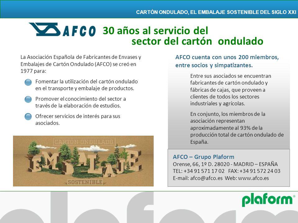 La Asociación Española de Fabricantes de Envases y Embalajes de Cartón Ondulado (AFCO) se creó en 1977 para: Fomentar la utilización del cartón ondula