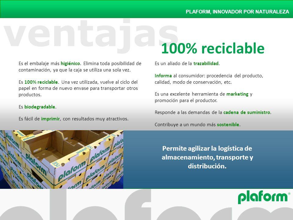 ventajas PLAFORM, INNOVADOR POR NATURALEZA Es un aliado de la trazabilidad. Informa al consumidor: procedencia del producto, calidad, modo de conserva