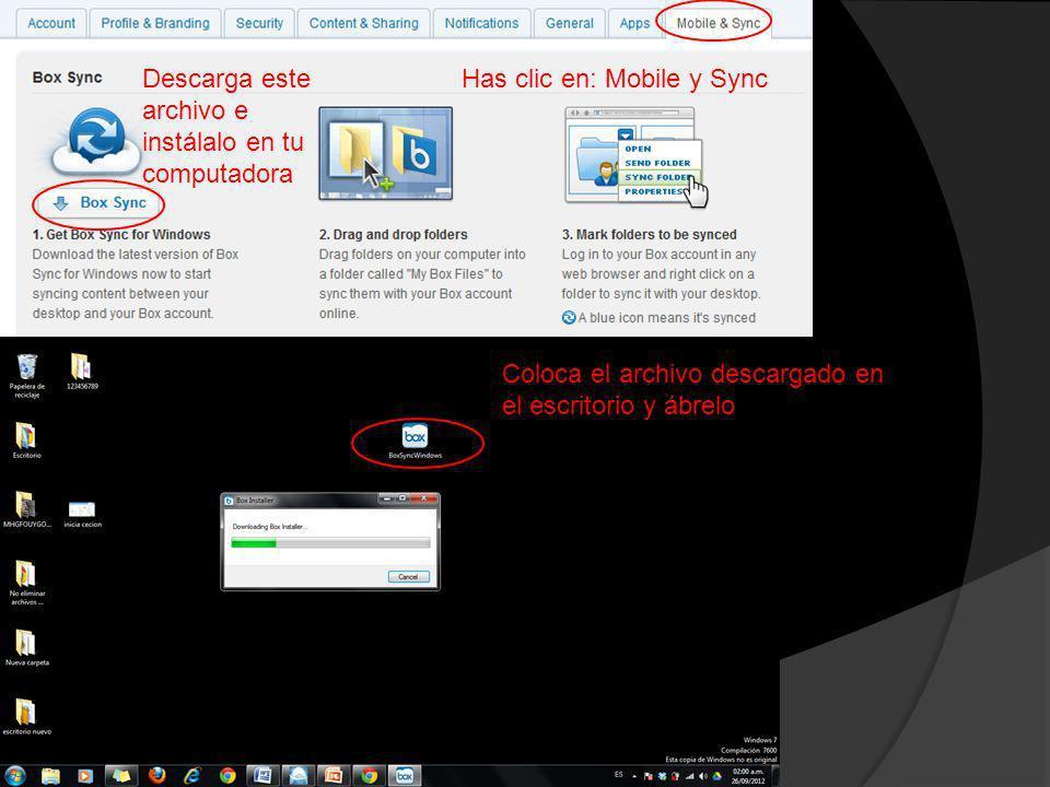 Has clic en: Mobile y SyncDescarga este archivo e instálalo en tu computadora Coloca el archivo descargado en el escritorio y ábrelo