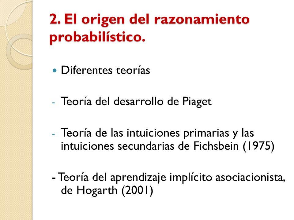 2. El origen del razonamiento probabilístico. Diferentes teorías - Teoría del desarrollo de Piaget - Teoría de las intuiciones primarias y las intuici