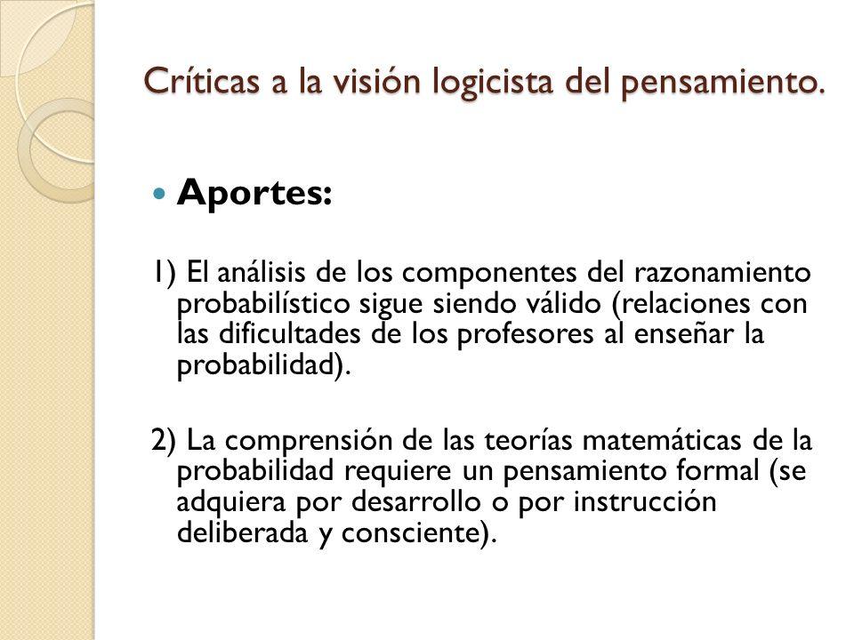 Críticas a la visión logicista del pensamiento. Aportes: 1) El análisis de los componentes del razonamiento probabilístico sigue siendo válido (relaci