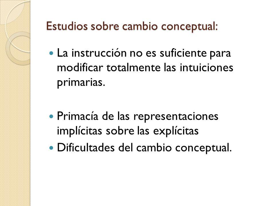 Estudios sobre cambio conceptual: La instrucción no es suficiente para modificar totalmente las intuiciones primarias. Primacía de las representacione
