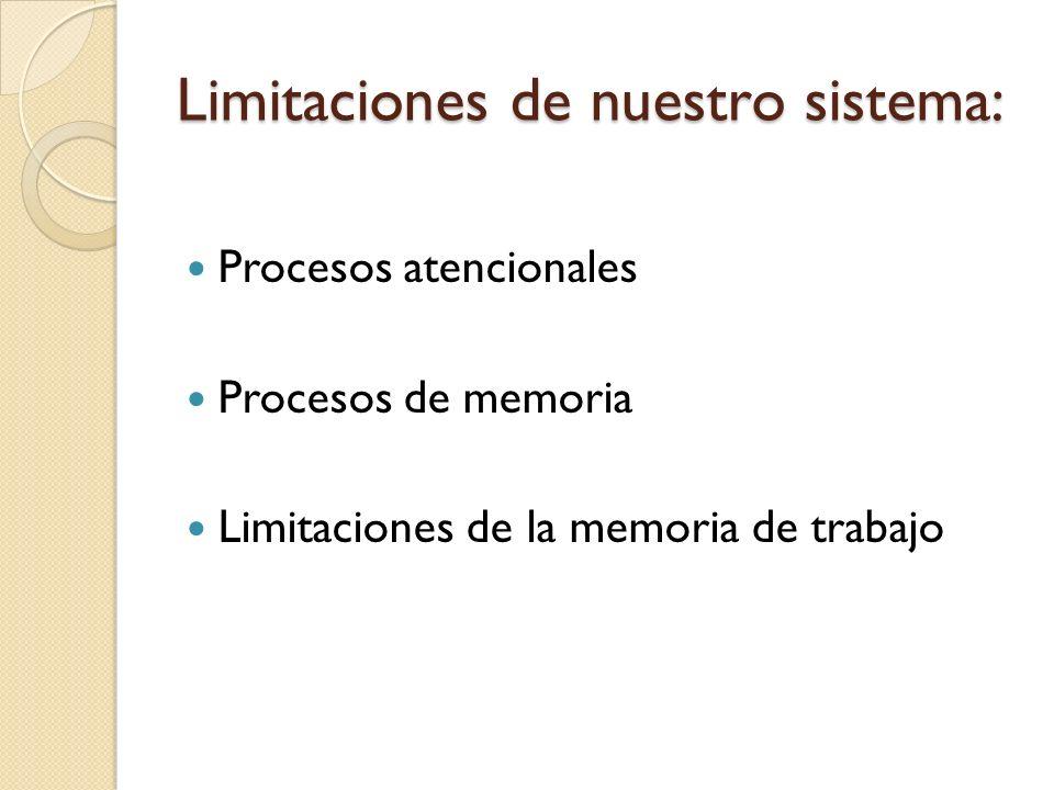 Limitaciones de nuestro sistema: Procesos atencionales Procesos de memoria Limitaciones de la memoria de trabajo