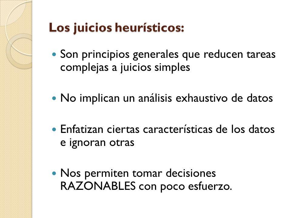 Los juicios heurísticos: Son principios generales que reducen tareas complejas a juicios simples No implican un análisis exhaustivo de datos Enfatizan