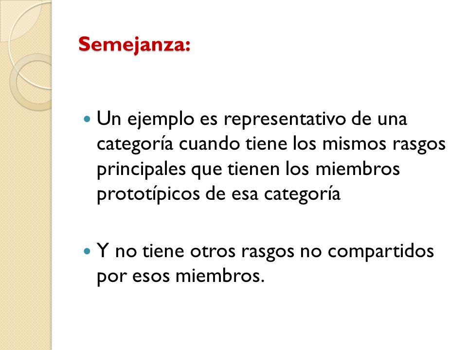 Semejanza: Un ejemplo es representativo de una categoría cuando tiene los mismos rasgos principales que tienen los miembros prototípicos de esa catego