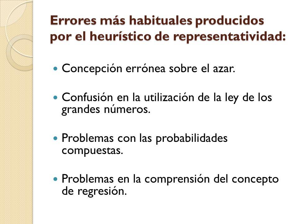 Errores más habituales producidos por el heurístico de representatividad: Concepción errónea sobre el azar. Confusión en la utilización de la ley de l