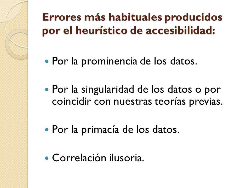 Errores más habituales producidos por el heurístico de accesibilidad: Por la prominencia de los datos. Por la singularidad de los datos o por coincidi