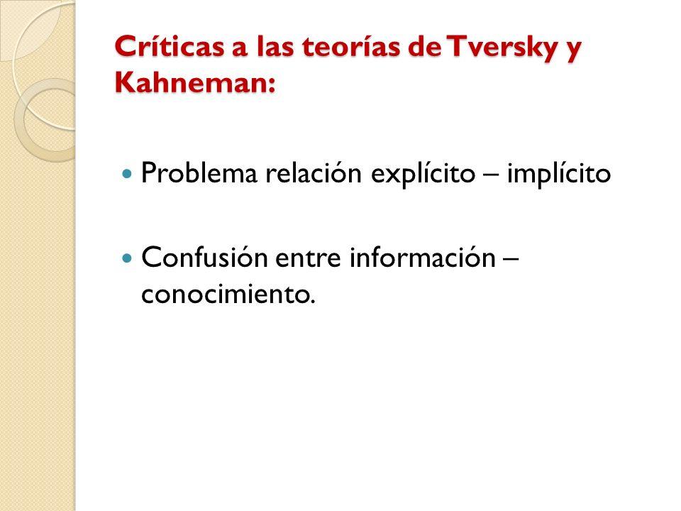 Críticas a las teorías de Tversky y Kahneman: Problema relación explícito – implícito Confusión entre información – conocimiento.