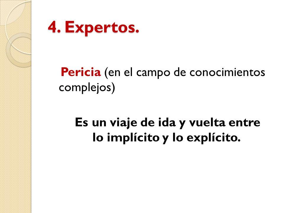 4. Expertos. Pericia (en el campo de conocimientos complejos) Es un viaje de ida y vuelta entre lo implícito y lo explícito.