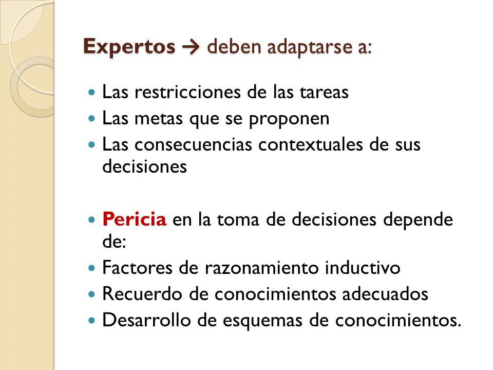 Expertos deben adaptarse a: Las restricciones de las tareas Las metas que se proponen Las consecuencias contextuales de sus decisiones Pericia en la t
