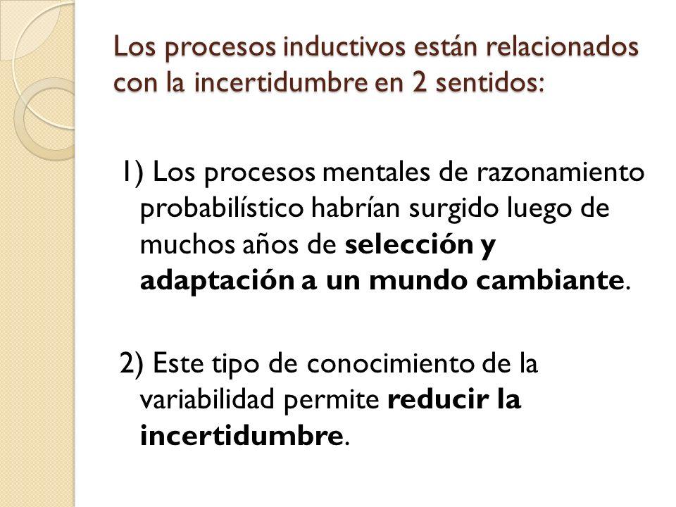 Los procesos inductivos están relacionados con la incertidumbre en 2 sentidos: 1) Los procesos mentales de razonamiento probabilístico habrían surgido