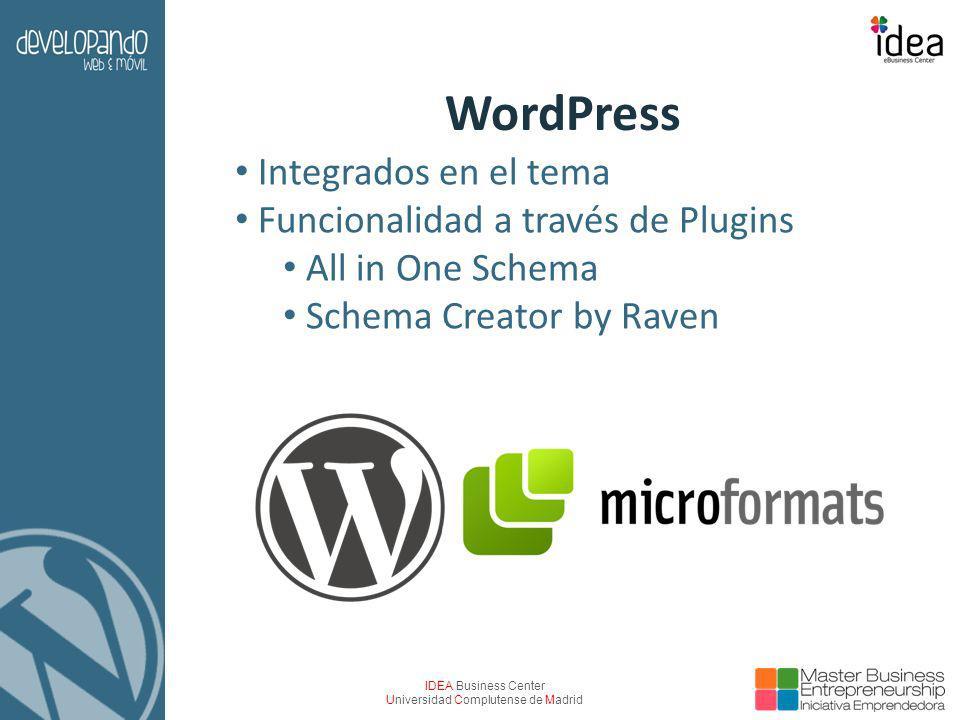 IDEA Business Center Universidad Complutense de Madrid WordPress Integrados en el tema Funcionalidad a través de Plugins All in One Schema Schema Crea