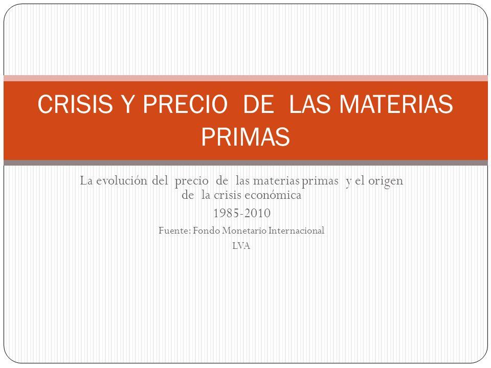 La evolución del precio de las materias primas y el origen de la crisis económica 1985-2010 Fuente: Fondo Monetario Internacional LVA CRISIS Y PRECIO DE LAS MATERIAS PRIMAS