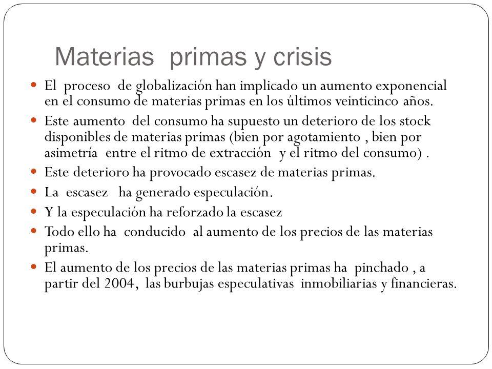 Materias primas y crisis El proceso de globalización han implicado un aumento exponencial en el consumo de materias primas en los últimos veinticinco años.