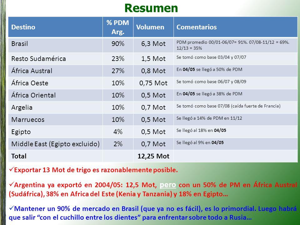 Resumen Destino % PDM Arg. VolumenComentarios Brasil90%6,3 Mot PDM promedio 00/01-06/07= 91%. 07/08-11/12 = 69%. 12/13 = 35% Resto Sudamérica23%1,5 Mo