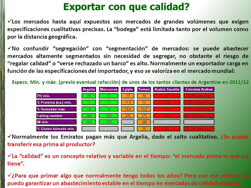 Exportar con que calidad? Los mercados hasta aquí expuestos son mercados de grandes volúmenes que exigen especificaciones cualitativas precisas. La bo