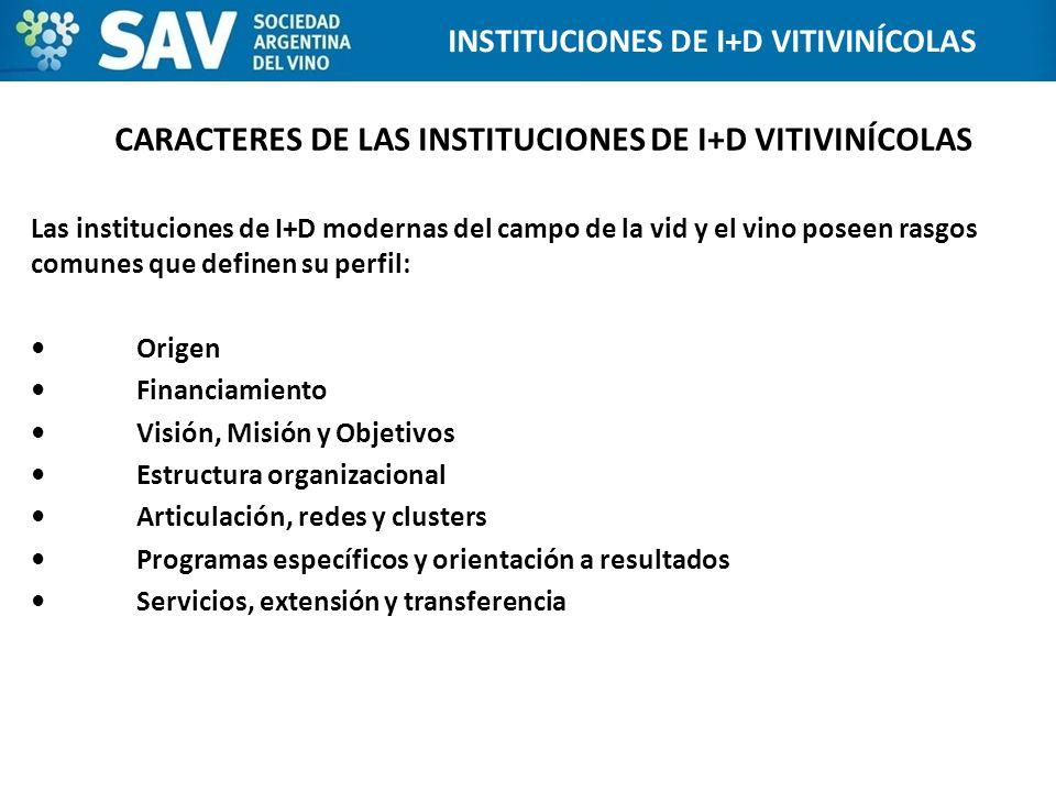 CARACTERES DE LAS INSTITUCIONES DE I+D VITIVINÍCOLAS Las instituciones de I+D modernas del campo de la vid y el vino poseen rasgos comunes que definen