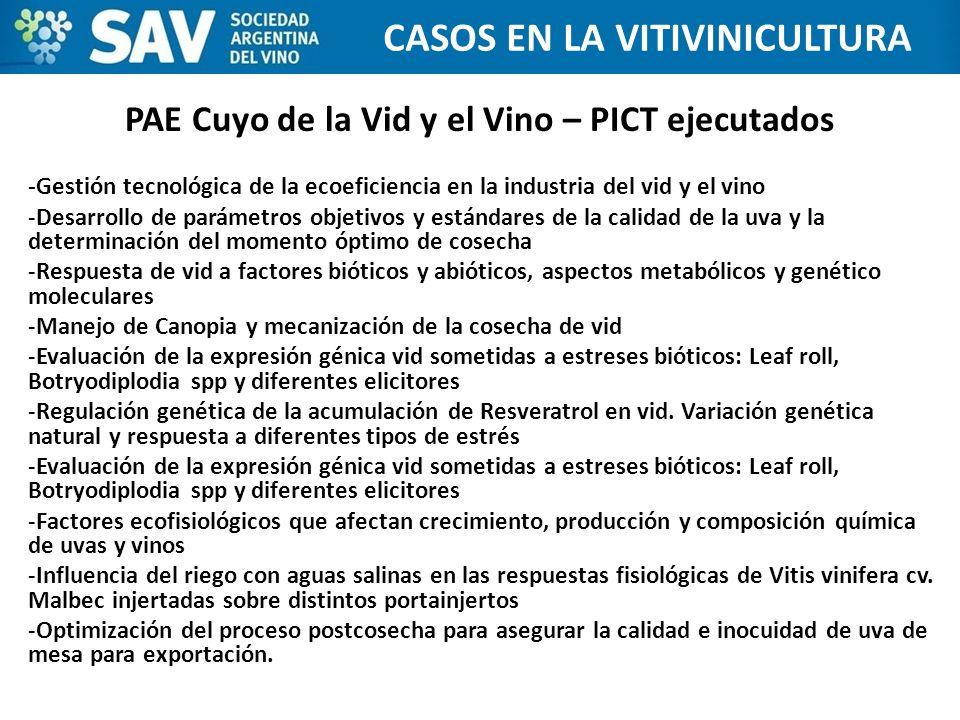 -Gestión tecnológica de la ecoeficiencia en la industria del vid y el vino -Desarrollo de parámetros objetivos y estándares de la calidad de la uva y