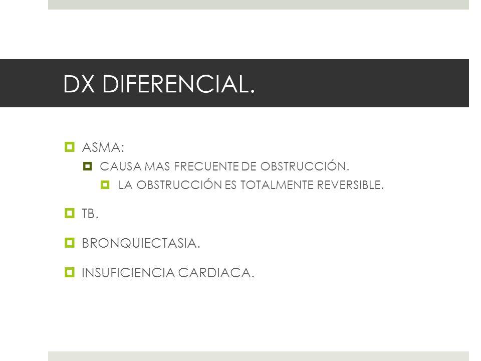 DX DIFERENCIAL. ASMA: CAUSA MAS FRECUENTE DE OBSTRUCCIÓN. LA OBSTRUCCIÓN ES TOTALMENTE REVERSIBLE. TB. BRONQUIECTASIA. INSUFICIENCIA CARDIACA.