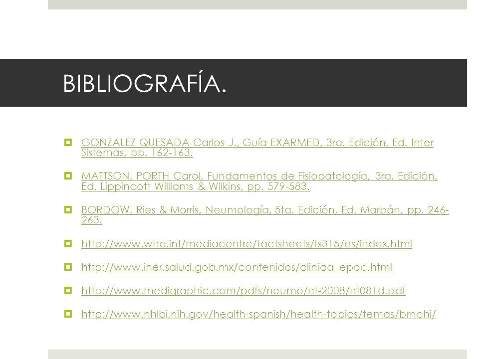 BIBLIOGRAFÍA. GONZALEZ QUESADA Carlos J., Guía EXARMED, 3ra. Edición, Ed. Inter Sistemas, pp. 162-163. GONZALEZ QUESADA Carlos J., Guía EXARMED, 3ra.